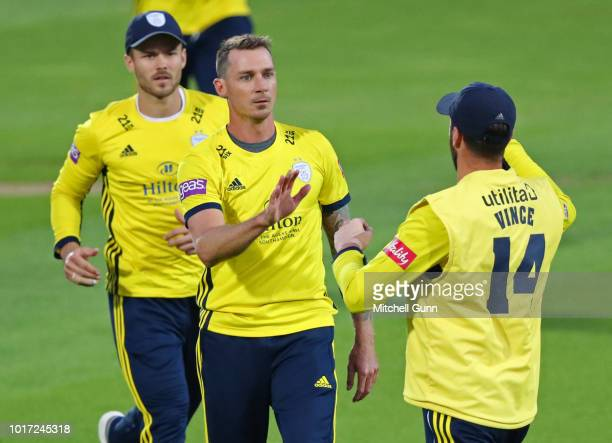 Dale Steyn of Hampshire celebrates taking the wicket of Will Jacks of Surrey during the Vitality Blast T20 match between Surrey and Hampshire at The...