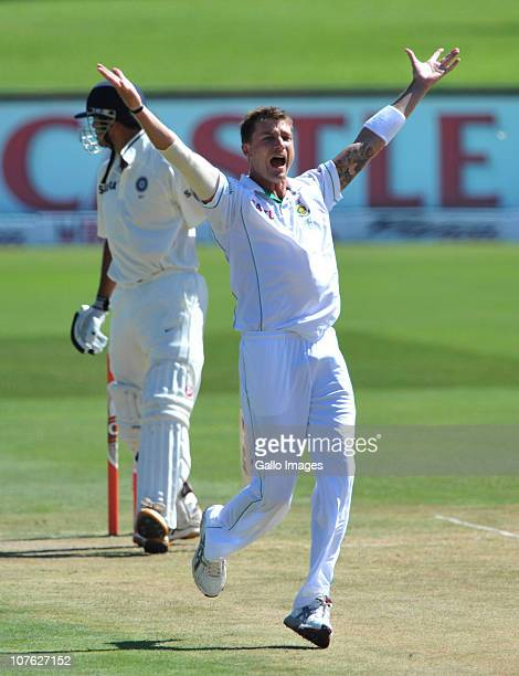 Dale Steyn of South Africa appeals for a LBW but Rahul Dravid of India is given not out during day 1 of the 1st Test match between South Africa and...