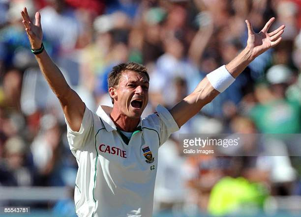Dale Steyn of South Africa appeals for LBW but Simon Katich is given a not out decision during day three of the Third Test between South Africa and...