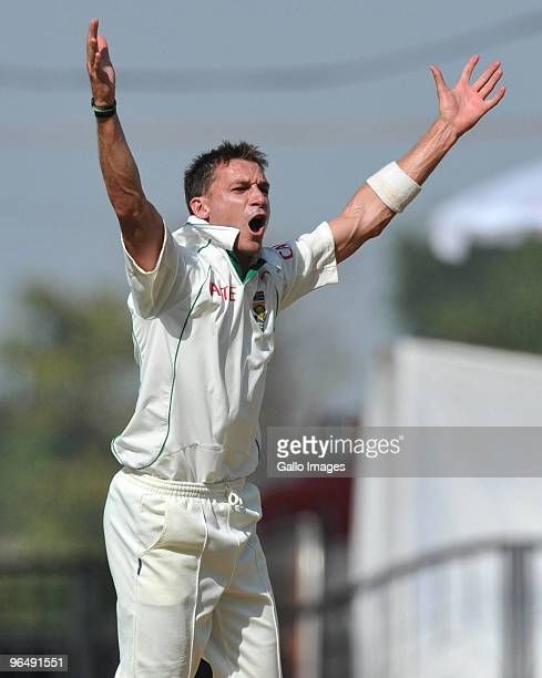 Dale Steyn of South Africa appeals in his 7 wicket haul during the day 3 of the 1st test between India and South Africa from Vidarbha Cricket...