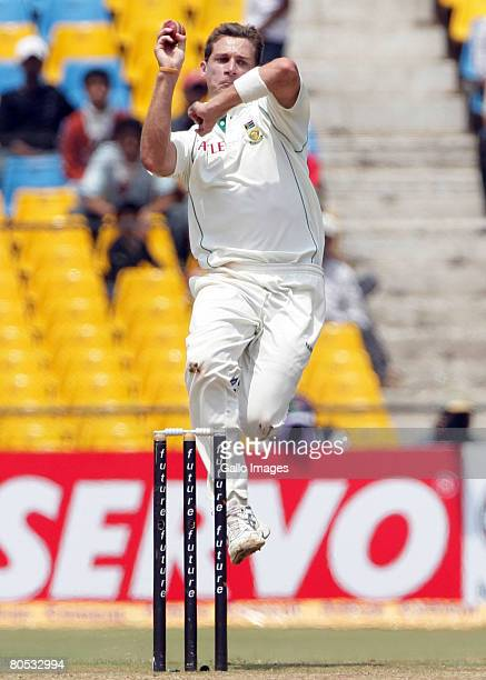Dale Steyn of South Africa bowls during Day 3 of the second test match between India and South Africa held at Sardar Patel Gujarat Stadium on April 5...