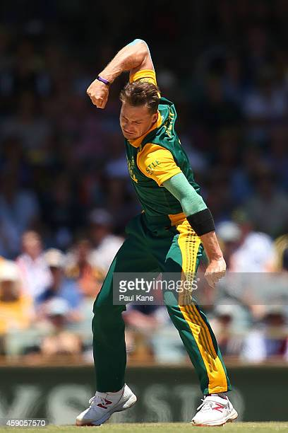 Dale Steyn of South Africa celebrates after dismissing Aaron Finch of Australia during the One Day International match between Australia and South...