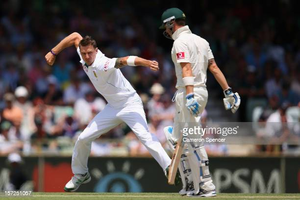 Dale Steyn of South Africa celebrates dismissing Australian captain Michael Clarke during day two of the Third Test Match between Australia and South...