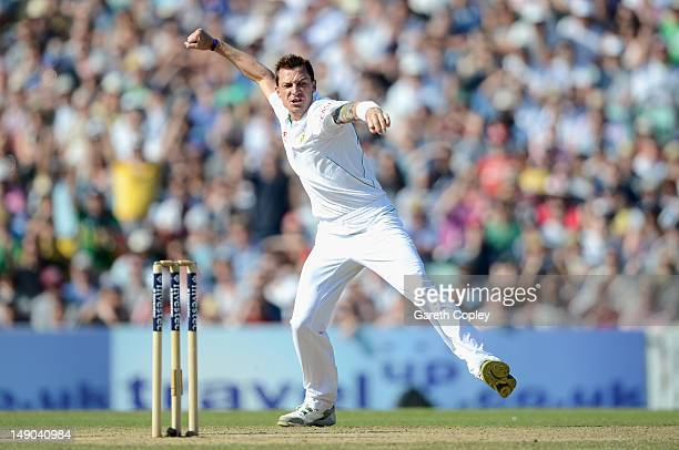 Dale Steyn of South Africa celebrates dismissing Jonathan Trott of England during day four of the 1st Investec Test match between England and South...