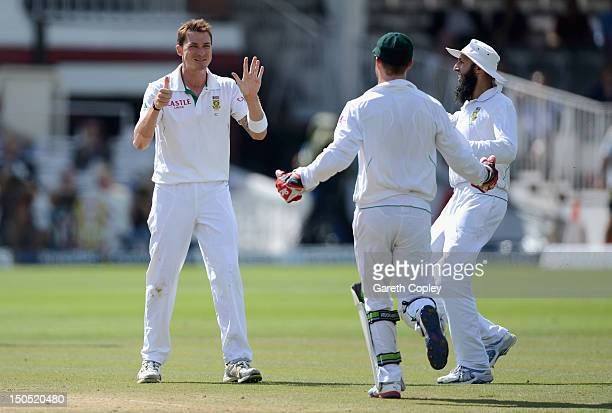 Dale Steyn of South Africa celebrates dismissing Jonathan Trott of England during day five of 3rd Investec Test match between England and South...