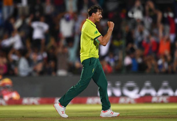 Dale Steyn of South Africa celebrates dismissing Jos Buttler of England during the First T20 International match between South Africa and England at...