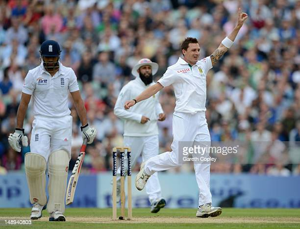 Dale Steyn of South Africa celebrates dismissing Ravi Bopara of England during day two of the 1st Investec Test match between England and South...