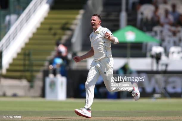Dale Steyn of South Africa celebrates getting Shan Masood of Pakistan wicket during day 3 of the 2nd Castle Lager Test match between South Africa and...