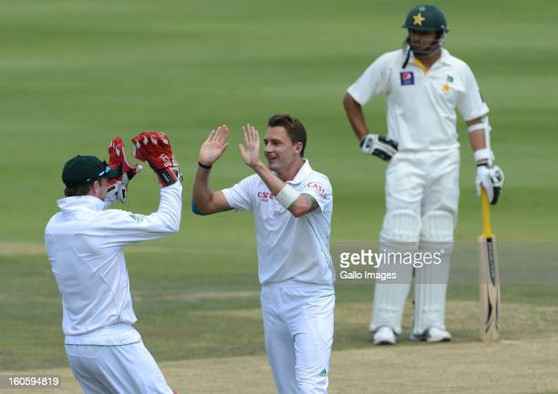 Dale Steyn of South Africa celebrates getting the wicket of Nazir Jamshed of Pakistan for 46 runs during day 3 of the 1st Test match between South...