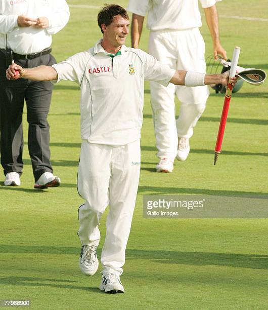 Dale Steyn of South Africa celebrates his six wickets during day three of the 2nd Test match between South Africa and New Zealand at SuperSport Park...