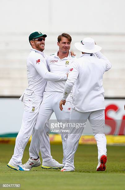 Dale Steyn of South Africa celebrates taking the wicket of Alex Hales of England during day one of the 1st Test between South Africa and England at...