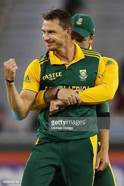 Dale Steyn of South Africa celebrates the wicket of Glenn Maxwell of Australia during game four of the One Day International series between Australia...