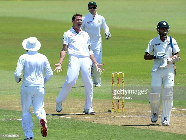 Dale Steyn of South Africa celebrates the wicket of Murali Vijay of India for 97 runs during day 2 of the 2nd Test match between South Africa and...