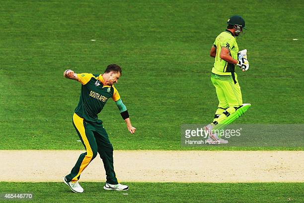Dale Steyn of South Africa celebrates the wicket of Shahid Afridi of Pakistan during the 2015 ICC Cricket World Cup match between South Africa and...