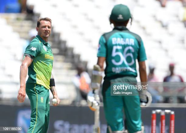 Dale Steyn of South Africa eyes up the opposition during the 5th Momentum One Day International match between South Africa and Pakistan at PPC...