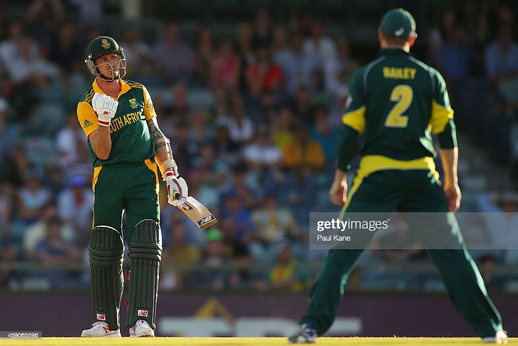 Dale Steyn of South Africa fist pumps the air while looking at George Bailey of Australia after hitting the winning runs during the One Day International match between Australia and South Africa at the WACA on November 16, 2014 in Perth, Australia.