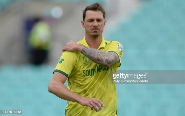Dale Steyn of South Africa holds his shoulder after the ICC Cricket World Cup Group Match between South Africa and Bangladesh at the Kia Oval on June...