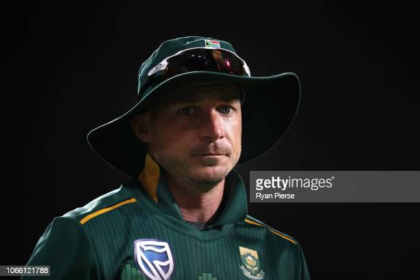 Dale Steyn of South Africa looks on during game three of the One Day International series between Australia and South Africa at Blundstone Arena on...