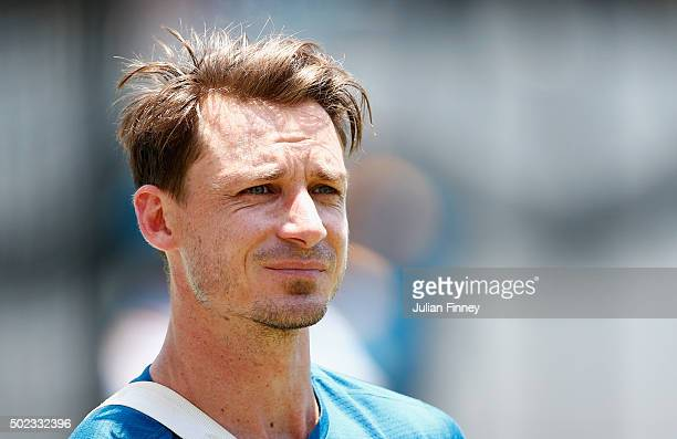 Dale Steyn of South Africa looks on during South Africa nets and training session at Sahara Stadium Kingsmead on December 23 2015 in Durban South...