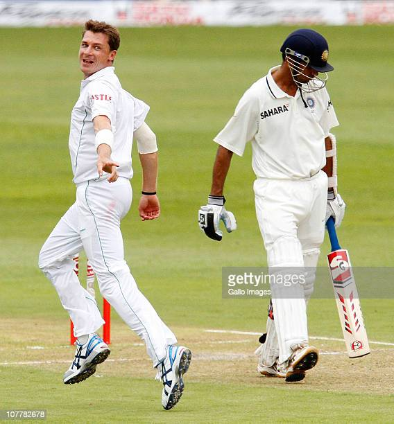Dale Steyn of South Africa of celebrates the wicket of Rahul Dravid of India during day 1 of the 2nd Test match between South Africa and India at...