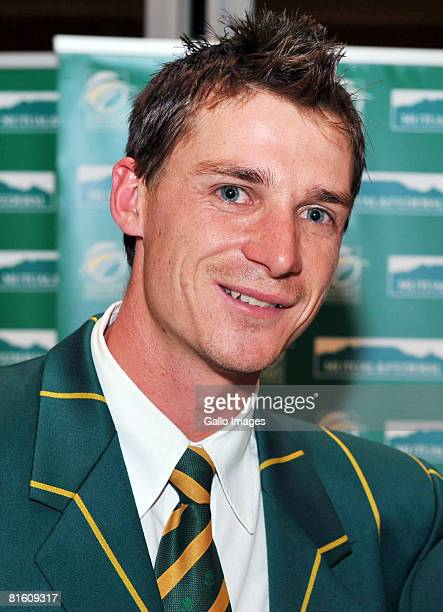 Dale Steyn of South Africa poses during the Mutual and Federal South African Cricket awards at the Sandton Convention Centre on June 17, 2008 in...
