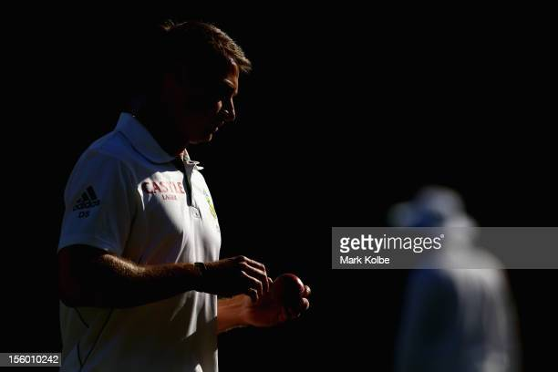 Dale Steyn of South Africa prepares to bowl during day three of the First Test match between Australia and South Africa at The Gabba on November 11...
