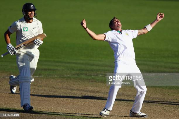 Dale Steyn of South Africa sucessfully appeals for the lbw wicket of Ross Taylor of New Zealand during day two of the Second Test match between New...