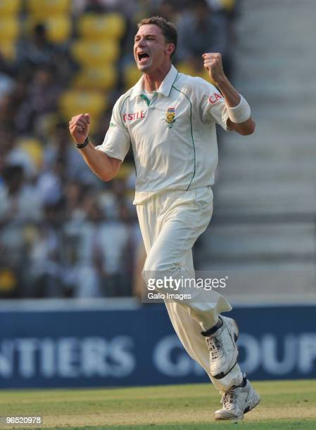 Dale Steyn of South Africa takes his 10th wicket as South Africa wins by an innings and 6 runs during day 4 of the 1st test between India and South...