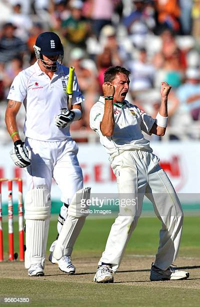 Dale Steyn of South Africa traps Kevin Pietersen of England lbw for 6 runs during day 4 of the 3rd test match between South Africa and England from...