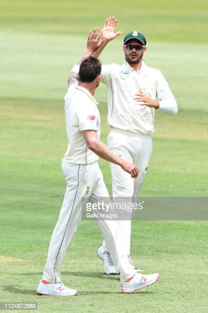 Dale Steyn of the Proteas celebrates the wicket of Kusal Perera of Sri Lanka with Aiden Markram of the Proteas during day 2 of the 1st Test match...