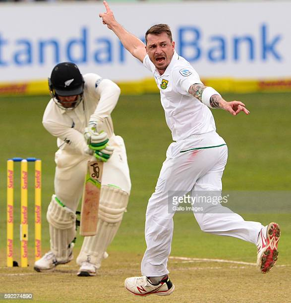 Dale Steyn of the Proteas celebrates the wicket of Martin Guptill of New Zealand during day 2 of the 1st Sunfoil International Test match between...