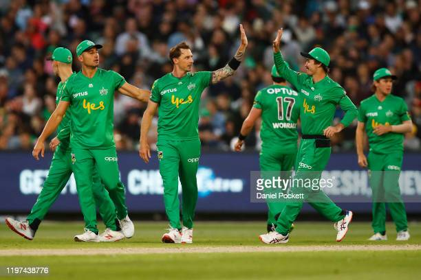 Dale Steyn of the Stars celebrates after dismissing Will Sutherland of the Renegades during the Big Bash League match between the Melbourne Stars and...