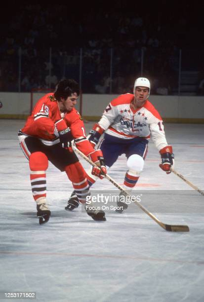 Dale Tallon of the Chicago Blackhawks skates against the Washington Capitals during an NHL Hockey game circa 1977 at the Capital Centre in Landover,...
