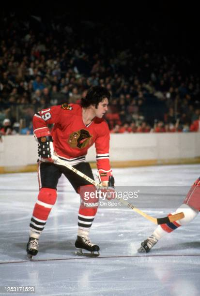 Dale Tallon of the Chicago Blackhawks skates against the Washington Capitals during an NHL Hockey game circa 1975 at the Capital Centre in Landover,...