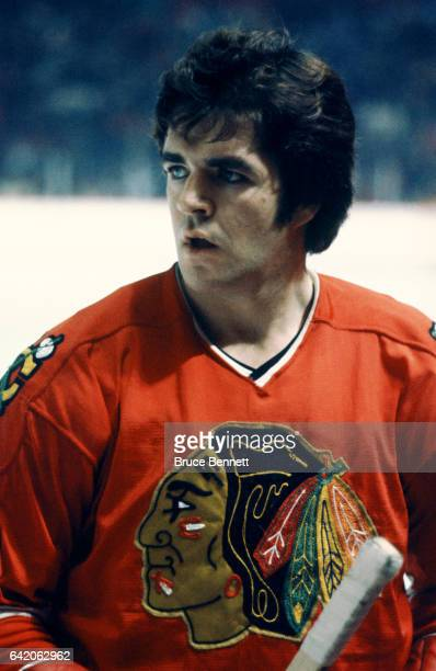 Dale Tallon of the Chicago Blackhawks skates on the ice before an NHL game against the Montreal Canadiens circa 1974 at the Montreal Forum in...