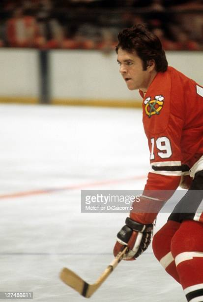 Dale Tallon of the Chicago Blackhawks skates on the ice during an NHL game against the New York Rangers on December 16, 1973 at the Madison Square...