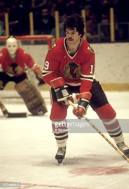 Dale Tallon of the Chicago Blackhawks skates on the ice during an NHL game in April, 1977.