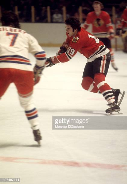 Dale Tallon of the Chicago Blackhawks skates on the ice during an NHL game against the New York Rangers circa 1974 at the Madison Square Garden in...