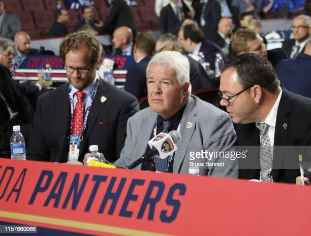 Dale Tallon of the Florida Panthers handles the 2019 NHL Draft at Rogers Arena on June 22, 2019 in Vancouver, Canada.