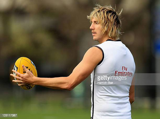 Dale Thomas in action during a Collingwood Magpies AFL training session at Gosch's Paddock on September 16 2011 in Melbourne Australia