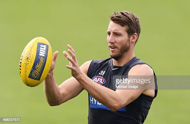 Dale Thomas marks the ball during a Carlton Blues AFL training session at Ikon Park on April 1 2015 in Melbourne Australia