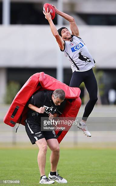 Dale Thomas marks the ball during a Collingwood Magpies AFL training session at Olympic Park on April 24, 2013 in Melbourne, Australia.
