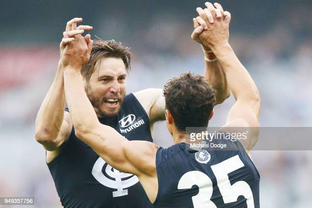 Dale Thomas of the Blues and Ed Curnow celebrates a goal during the round five AFL match between the Carlton Blues and the West Coast Eagles at...