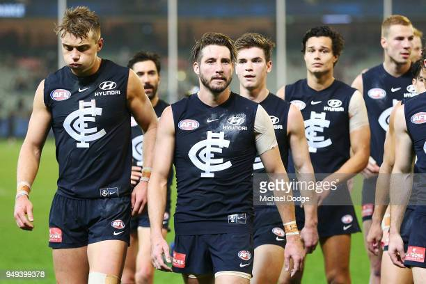 Dale Thomas of the Blues and Patrick Cripps of the Blues look dejected after defeat during the round five AFL match between the Carlton Blues and the...
