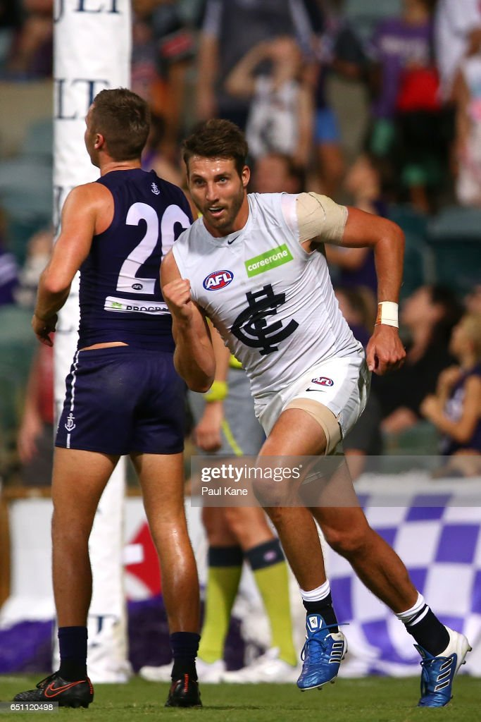Dale Thomas of the Blues celebrates a goal during the JLT Community Series AFL match between the Fremantle Dockers and the Carlton Blues at Domain Stadium on March 10, 2017 in Perth, Australia.