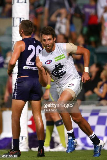 Dale Thomas of the Blues celebrates a goal during the JLT Community Series AFL match between the Fremantle Dockers and the Carlton Blues at Domain...