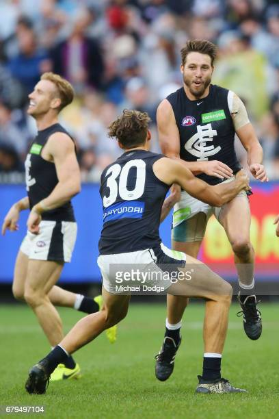 Dale Thomas of the Blues celebrates a goal during the round seven AFL match between the Collingwood Magpies and the Carlton Blues at Melbourne...