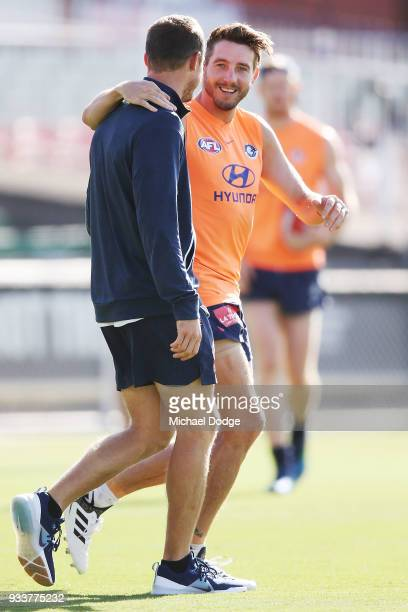 Dale Thomas of the Blues reacts during a Carlton Blues AFL training session at Ikon Park on March 19 2018 in Melbourne Australia