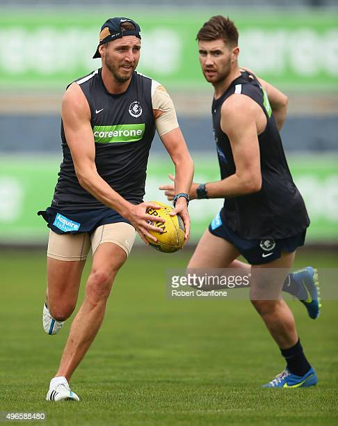 Dale Thomas of the Blues runs with the ball during a Carlton Blues AFL training session at Ikon Park on November 11 2015 in Melbourne Australia
