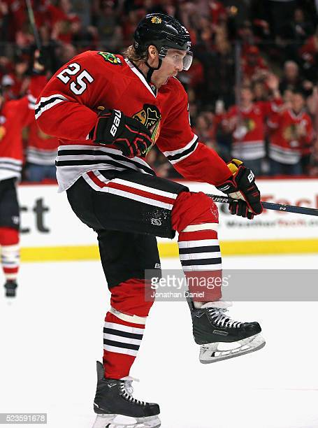 Dale Weise of the Chicago Blackhawks celebrates a second period goal against the St Louis Blues in Game Six of the Western Conference First Round...